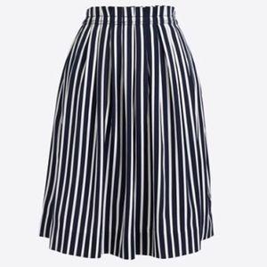 J.Crew// Navy striped midi skirt